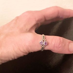 Avon 925 Amethyst Marcasite Double Heart Ring